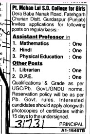 Assistant Proffessor in Mathematics and Hindi etc (Pt Mohan Lal SD College for Girls)