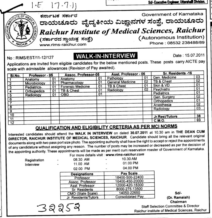 Proffessors Associate Proffessors Lecturers and Assistant Proffessors for BTech etc (Raichur Institute of Medical Sciences)
