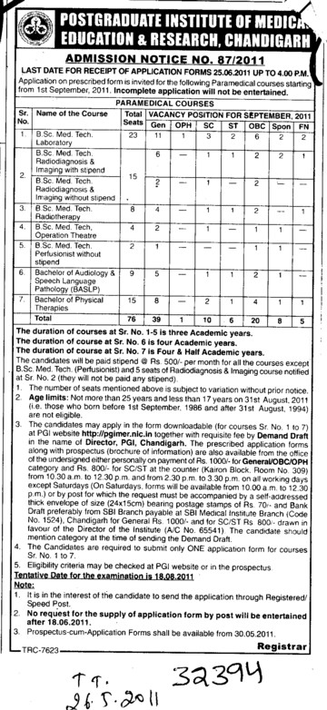 Proffessors Associate Proffessors Lecturers and Assistant Proffessors for BTech etc (PGIMER Dental College)