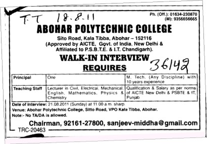 Teaching Staff required (Abohar Polytechnic College)