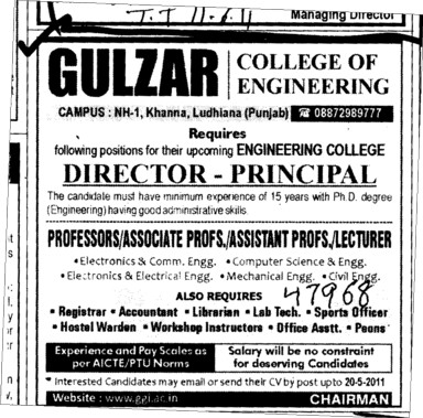 Director amd Principal required (Gulzar College of Engineering and Technology)