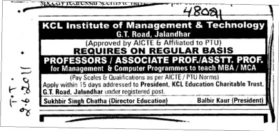 Proffessors Associate Proffessors Lecturers and Assistant Proffessors for BTech etc (KCL Institute of Management and Technology)
