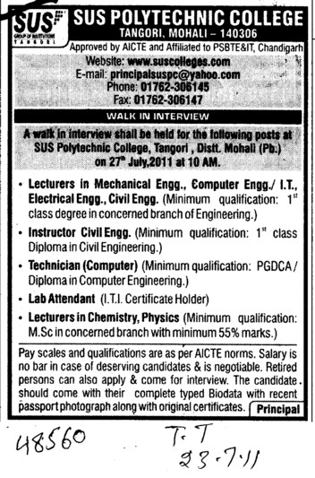 Lecturers in Mechanical Engineering and Technician etc (SUS Polytechnic College)