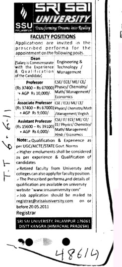 Proffessors Associate Proffessors Lecturers and Assistant Proffessors for BTech etc (Sri Sai University)