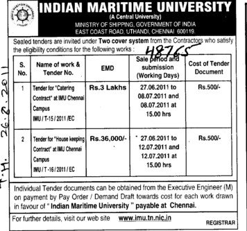 Catering Contract at IMU Channel Campus (Indian Maritime University)