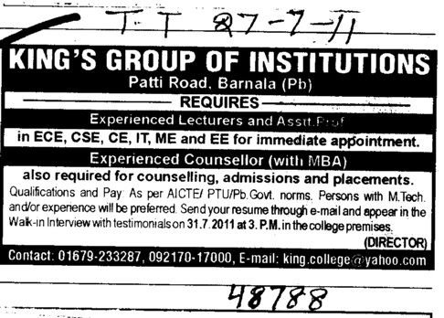 Lecturers and Assistant Proffessor required (Kings Group of Institutions)