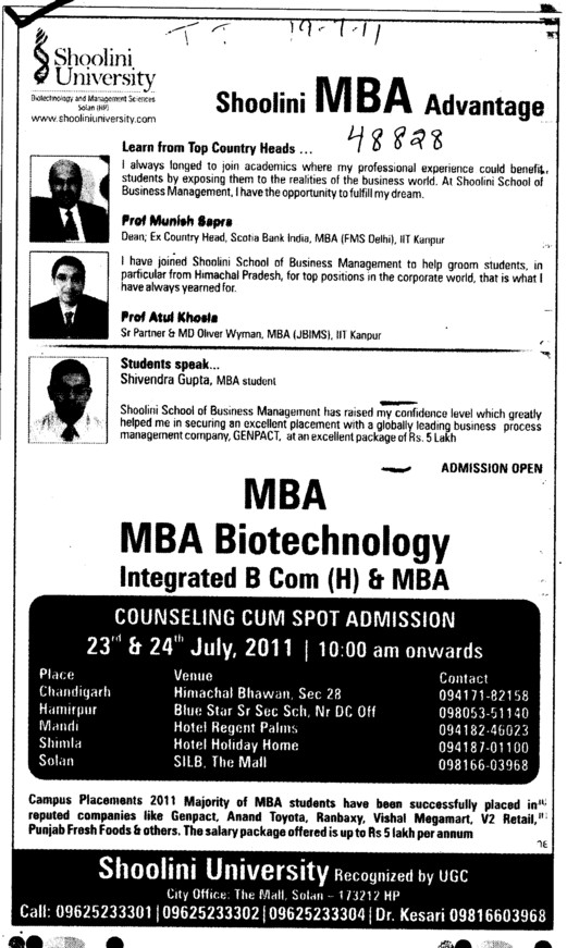 MBA Course (Shoolini University)