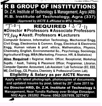 Director Proffessors Associate Proffessors Lecturers and Assistant Proffessors for BTech etc (RB Group of Institutions (RBGI))