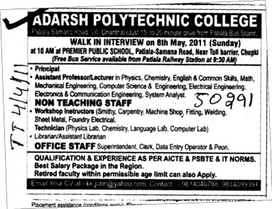 Non teaching staff and Office staff (Adarsh Polytechnic College)