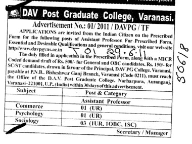 Proffessors Associate Proffessors Lecturers and Assistant Proffessors for BTech etc (DAV Post Graduate College)