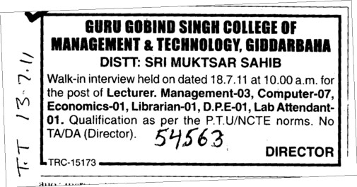 Lecturer and Lab Attendent etc (Guru Gobind Singh College of Management and Technology)