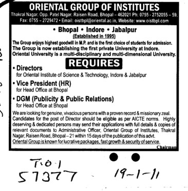 Director Vice President and DGM (Oriental Group of Institutes)