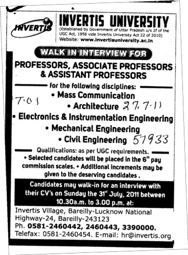 Proffessors Associate Proffessors Lecturers and Assistant Proffessors etc (Invertis University)