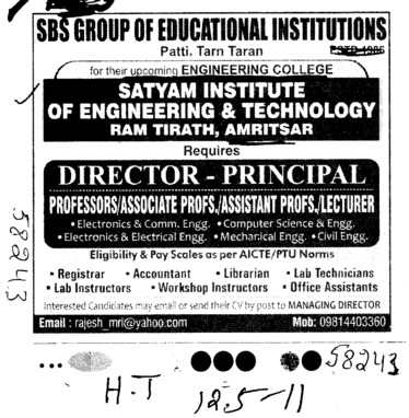 Director and Principal  (Satyam Institute of Engineering and Technology)