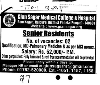 Senior Residents (Gian Sagar Medical College and Hospital)