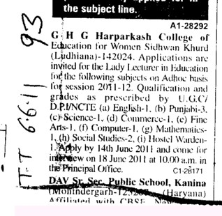 Lady Lecturer on Contract basis (GHG Harparkash College of Education for Women)