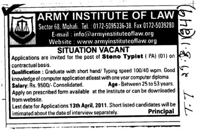 Steno Typist required (Army Institute of Law)
