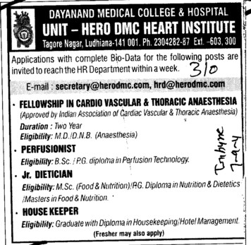 Perfusionist and House Keeper etc (Dayanand Medical College and Hospital DMC)
