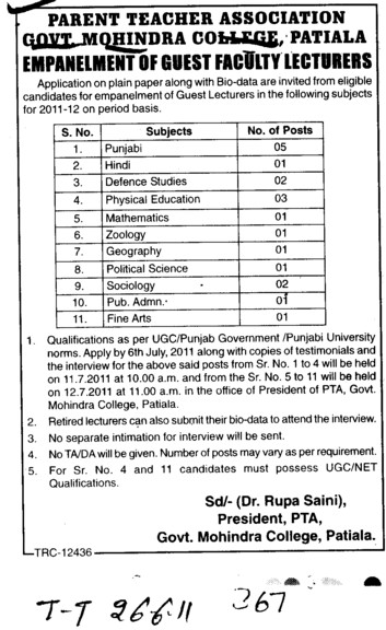 Lecturer in Punjabi Hindi and Zoology etc (Government Mohindra College)