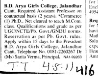 Assistant Proffessor on contract basis (BD Arya Girls College)
