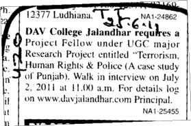 Project fellow under UGC major Research Project entitled Terrorism (DAV College)