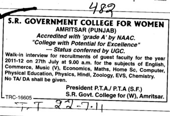 Guest Faculty required (SR Government College for Women)
