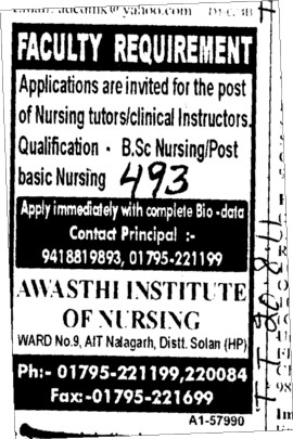 Faculty Requirement for Nursing (Arjan Dass College Dharamkot)