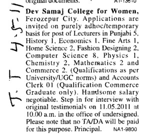 Lecturer in Hindi Punjabi and English etc (Dev Samaj College for Women)