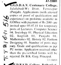 Lecturer in Computer Science and English etc (GGS DAV Centenary College)