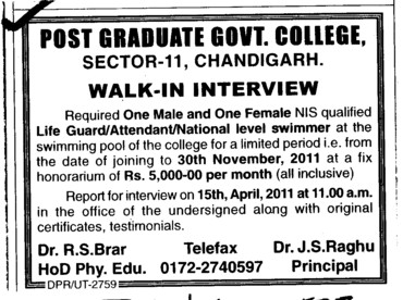 Life Guard and Attendant etc (Post Graduate Government College (Sector 11))