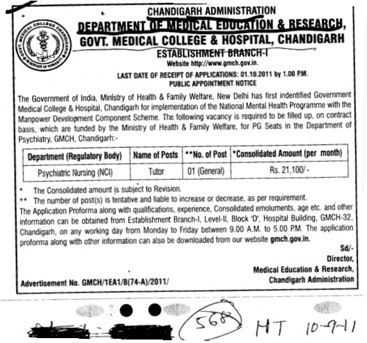Tutor in Psychiatric Nursing (Government Medical College and Hospital (Sector 32))