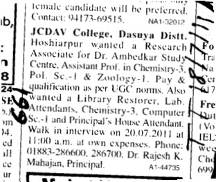 Assistant Proffessor in Chemistry and Zoology etc (JC DAV College)
