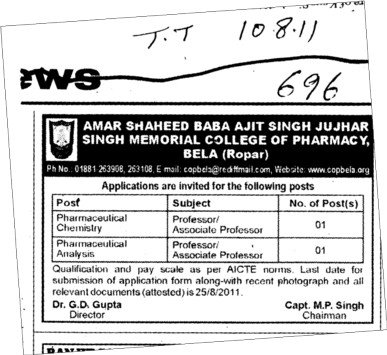 Pharmaceutical Analysis (Amar Shaheed Baba Ajit Singh Jujhar Singh Memorial College of Pharmacy ASBASJSM Bela)