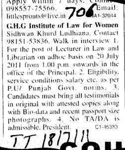 Lecturer in Law and Librarian (GHG Institute of Law for Women Sidhwan Khurd)