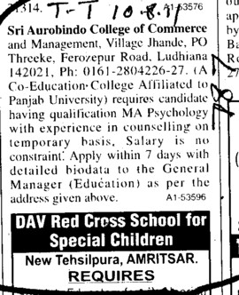 MA in Psychology with experience (Sri Aurobindo College of Commerce and Management)