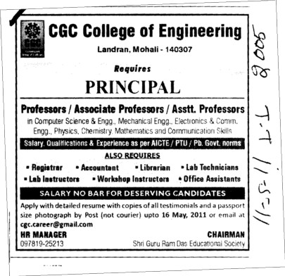 Proffessors Associate Proffessors Lecturers and Assistant Proffessors for BTech etc (Chandigarh Group of Colleges)