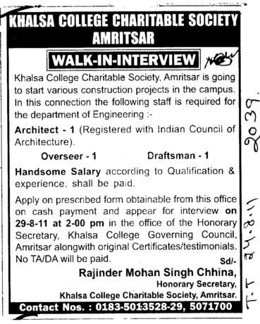 Architect and Draftsman etc (Khalsa College Charitable Society Group)