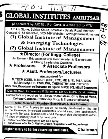 Proffessors Associate Proffessors Lecturers and Assistant Proffessors etc (Global Institutes Group)