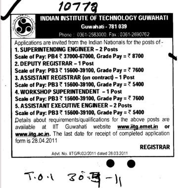 Superintending Engineer and Assistant Registrar etc (Indian Institute of Technology IIT)