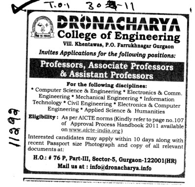 Professors Associate Professors Lecturers and Assistant Professors etc (Dronacharya College of Engineering (DCE))