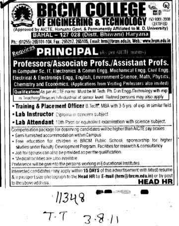Principal and Lab Attendant etc (BRCM College of Engineering and Technology Bahal)