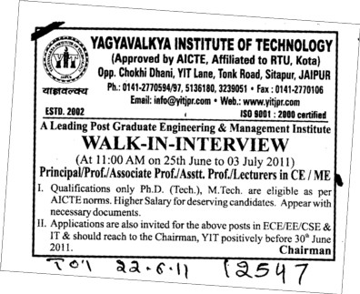Principal Professor and Assistant Professor etc (Yagyavalkya Institute of Technology (YIT) Sitapura)