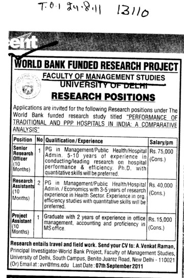 Senior Research officer and Research Assistants etc (College of Material Management (CMM))