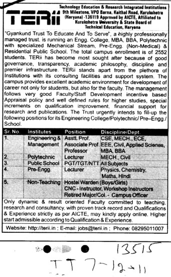 Professors Associate Professors Lecturers and Assistant Professors etc (Technology Education and Research Institute (TERI))
