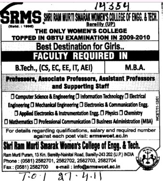 Professors Associate Professors Lecturers and Assistant Professors etc (SRMS College of Engineering & Technology)