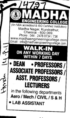 Dean Professors Associate Professors Lecturers and Assistant Professors etc (Madha Engineering College (MEC))