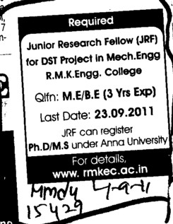 Junior Research Fellow (RMK Engineering College)