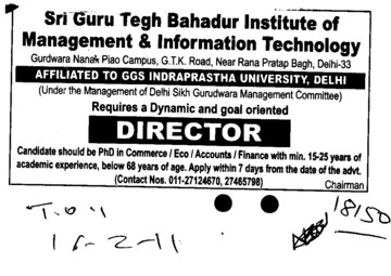 Director required (Sri Guru Tegh Bahadur institute of Management and Information Technology)