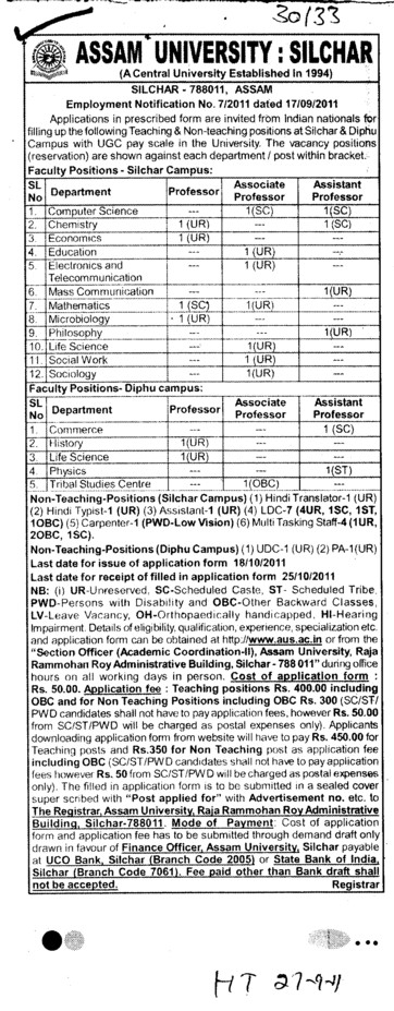 Professors Associate Professors Lecturers and Assistant Professors etc (Assam University)
