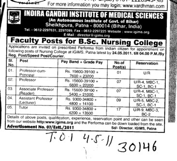 Professors Associate Professors Lecturers and Assistant Professors etc (Indira Gandhi Institute of Medical Sciences (IGIMS))